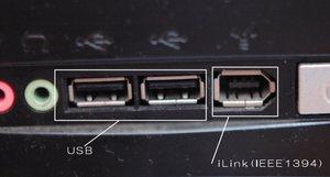 左の2つの穴がUSB用で、右の五角形の穴がiLink(IEEE1394)用