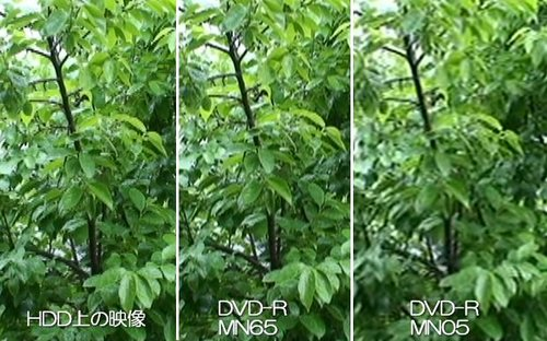 HDD上の映像とDVD-R(XPモード)ではほとんど差がわからない