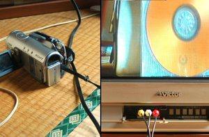 カメラにはAV端子が付属しているので、簡単に繋ぐことができる。