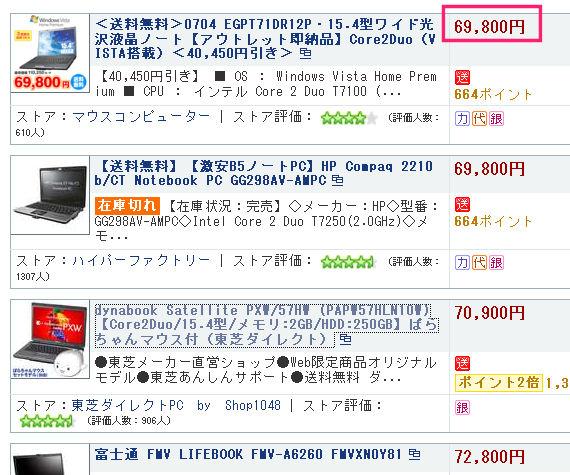 最安値は6万円台から